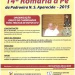 14ª Romaria a pé da Padroeira será realizada em Outubro