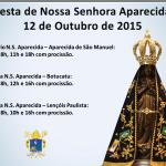 Festa da Padroeira do Brasil: Confira os horários de Missas nas Paróquias dedicadas a Nossa Senhora Aparecida