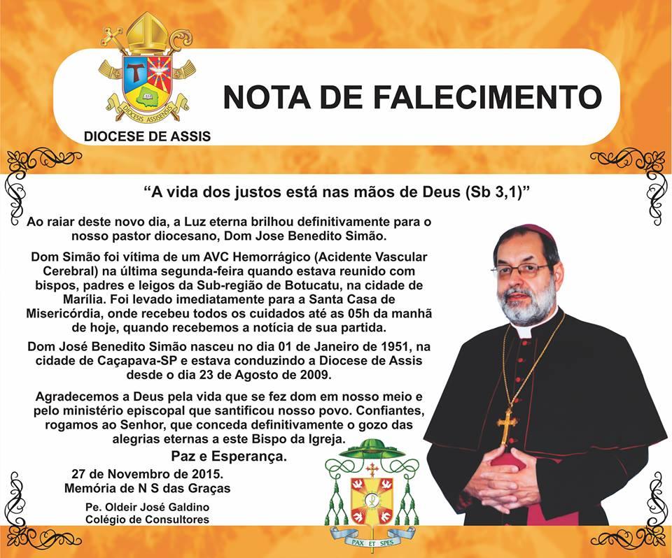 Diocese de Assis divulga horário de Missas e Velório de Dom Simão, na Catedral de Assis