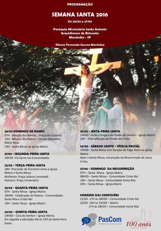 Semana Santa em Macatuba será marcada pela apresentação da tradicional dramatização da Paixão