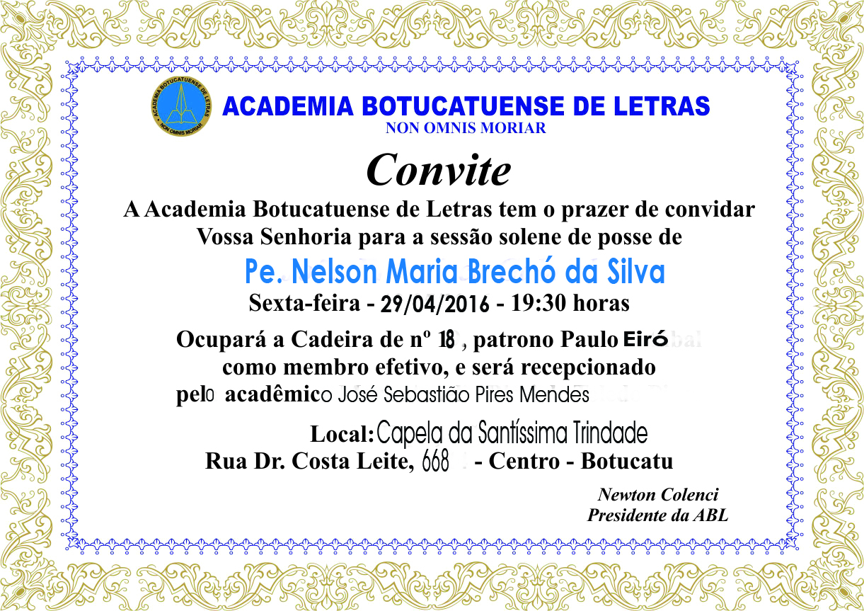 ACADEMIA BOTUCATUENSE DE LETRAS - CONVITE