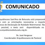 Comunicado: Arquidiocese prepara texto com orientações sobre Processo de Nulidade Matrimonial