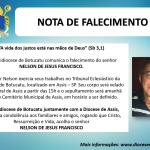 Nota de Falecimento: Sr. Nelson de Jesus Francisco