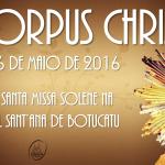 Missa de Corpus Christi será às 10h, na Catedral