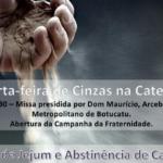 Dom Maurício preside a Missa de Cinzas às 19h30 na Catedral