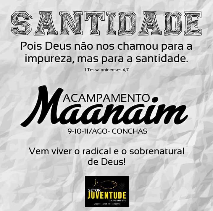 Acampamento Maanaim acontecerá no mês de agosto.
