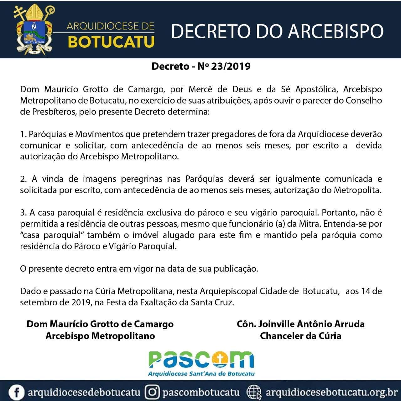 Dom Maurício publica decreto para organização de atividades na Arquidiocese