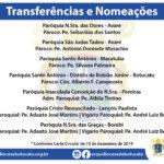 Transferências e Nomeações que passam a valer a partir de 01 de janeiro na Arquidiocese