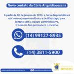 Cúria Arquidiocesana disponibiliza novo contato telefônico