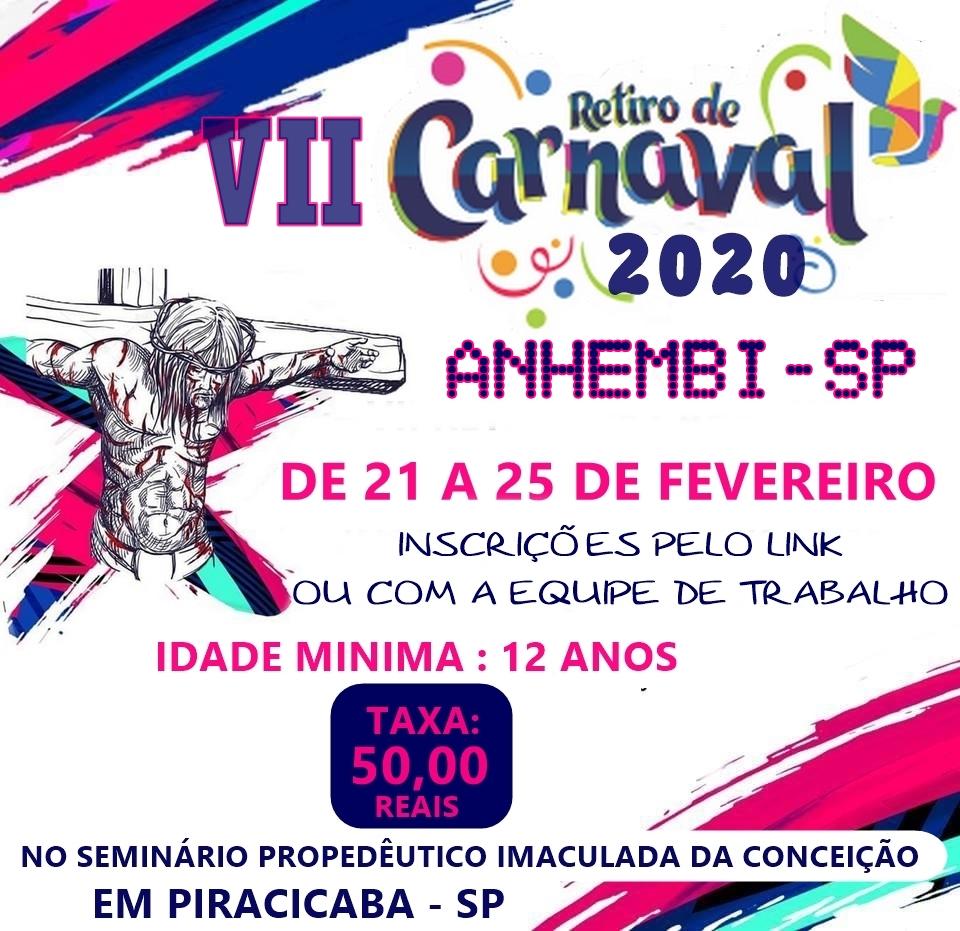 Estão abertas as inscrições para o VII Retiro de Carnaval na cidade de Anhembi
