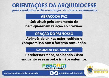 Orientações da Arquidiocese de Botucatu para combater a disseminação do coronavírus