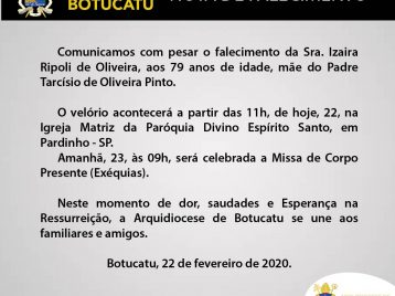 Nota de Falecimento: Sra. Izaira Ripoli de Oliveira, mãe do Padre Tarcísio de Oliveira Pinto