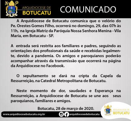Comunicado: Velório e sepultamento do Pe. Orestes Gomes Filho