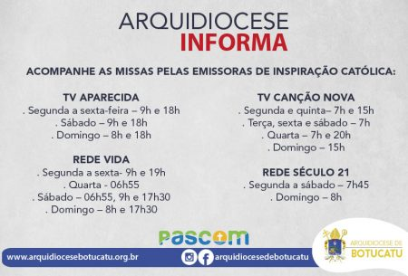Horários de missas nas emissoras católicas de televisão