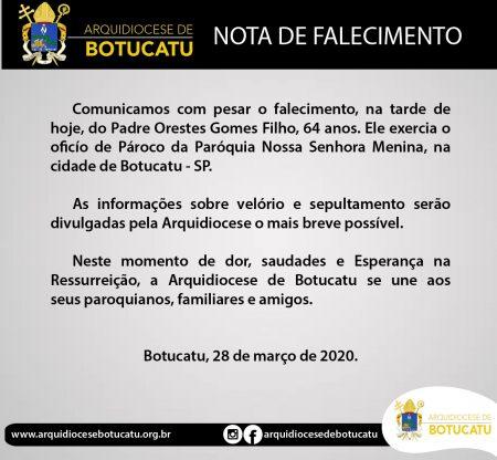 Nota de Falecimento: Pe. Orestes Gomes Filho
