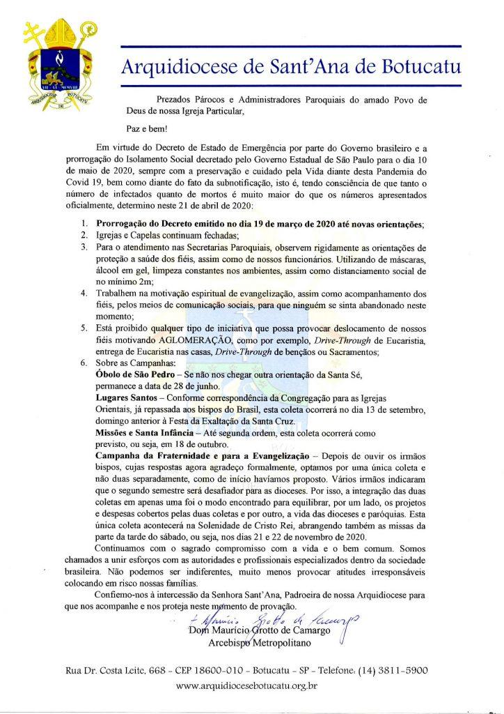 Arquidiocese divulga prorrogação do Decreto com novas determinações