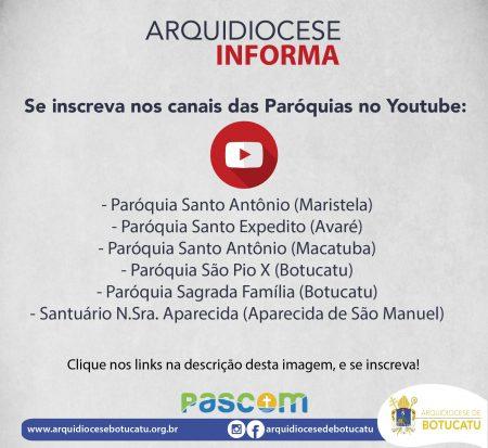 Paróquias da Arquidiocese se mobilizam para transmitir celebrações pelo Youtube, se inscreva nos canais