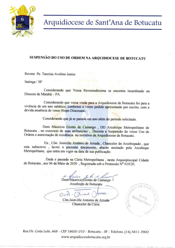 Suspensão do uso de Ordem na Arquidiocese de Botucatu: Pe. Tarcísio Avelino Junior
