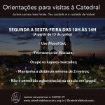 Catedral abrirá com restrições para visitas e oração a partir de 15 de junho