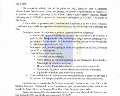 Arquidiocese publicou novo Decreto com início de retorno gradual das atividades nas Paróquias