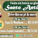 Festa de Santo Antônio, em Rubião Júnior contará com drive-thru no pé do morro