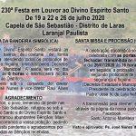 230° Festa em Louvor ao Divino Espírito Santo no Distrito de Laras em Laranjal Paulista.