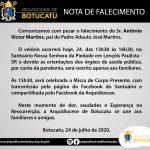 NOTA DE FALECIMENTO: Sr. Antônio Victor Martins, pai do Padre Adauto