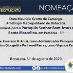 Nomeação: Dom Maurício nomeia padres para a Paróquia Senhor Bom Jesus e Santa Marcelina