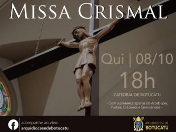 Missa Crismal será celebrada em outubro