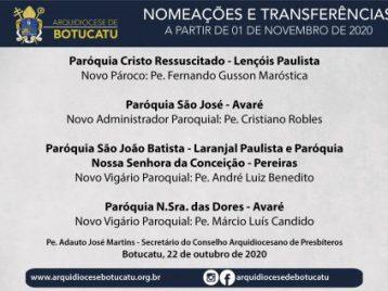 Nomeações e Transferências começam a vigorar a partir de 01 de novembro