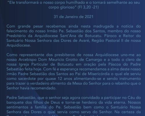 Nota da Pastoral Presbiteral pelo falecimento do Pe. Sebastião dos Santos