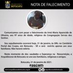 Nota de Falecimento: Ir. Maria Aparecida de Oliveira