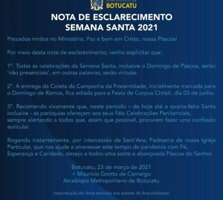 """Dom Maurício emite """"Nota de Esclarecimento sobre a Semana Santa 2021"""" para os presbíteros da Arquidiocese"""