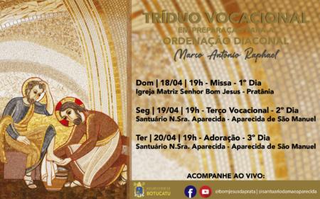Tríduo Vocacional será realizado em preparação para a Ordenação Diaconal do seminarista Marco