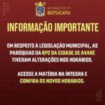 Paróquias de Avaré alteram horários de celebrações em cumprimento ao Decreto Municipal